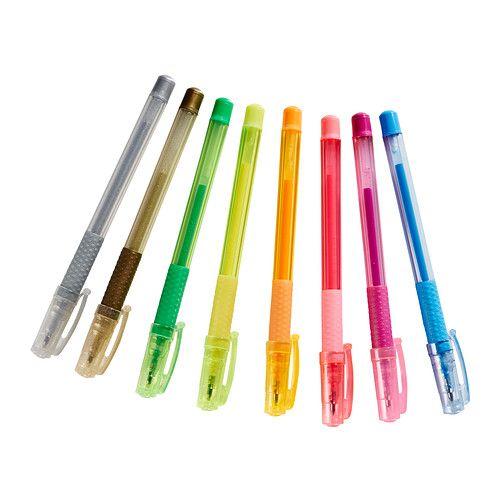 IKEA - МОЛА, Гелевая ручка, , Ребенок будет с удовольствием писать и рисовать гелевыми ручками 8 разных цветов.