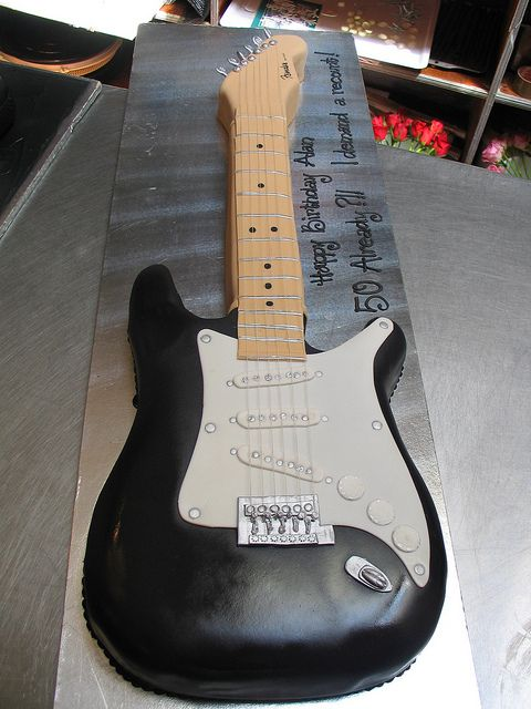 Fender electric guitar birthday cake