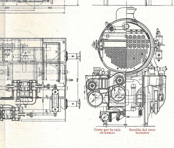 Vintage Technical Drawing Engineering Compound