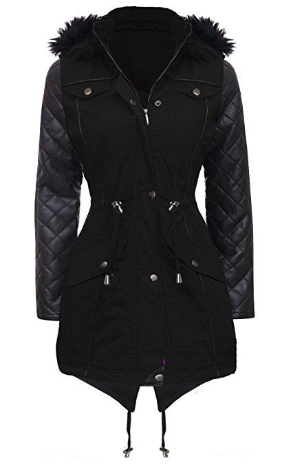 NEW Womens LADIES PARKA JACKET Quilted PU Sleeves WINTER COAT Size 8 10 12 14 16 18 20 22 24 (8, BLACK)