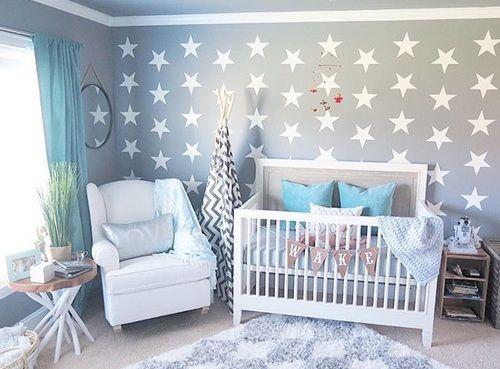 Nursery. Grey. Blue.
