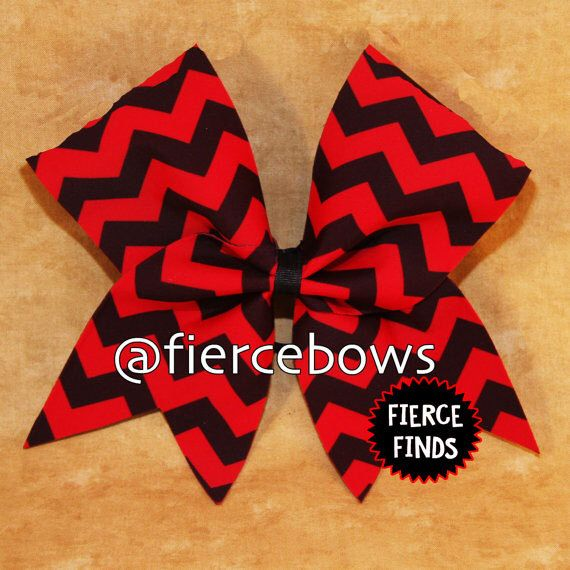 Red and Black Chevron Cheer Bow by MyFierceBows on Etsy https://www.etsy.com/listing/232142468/red-and-black-chevron-cheer-bow