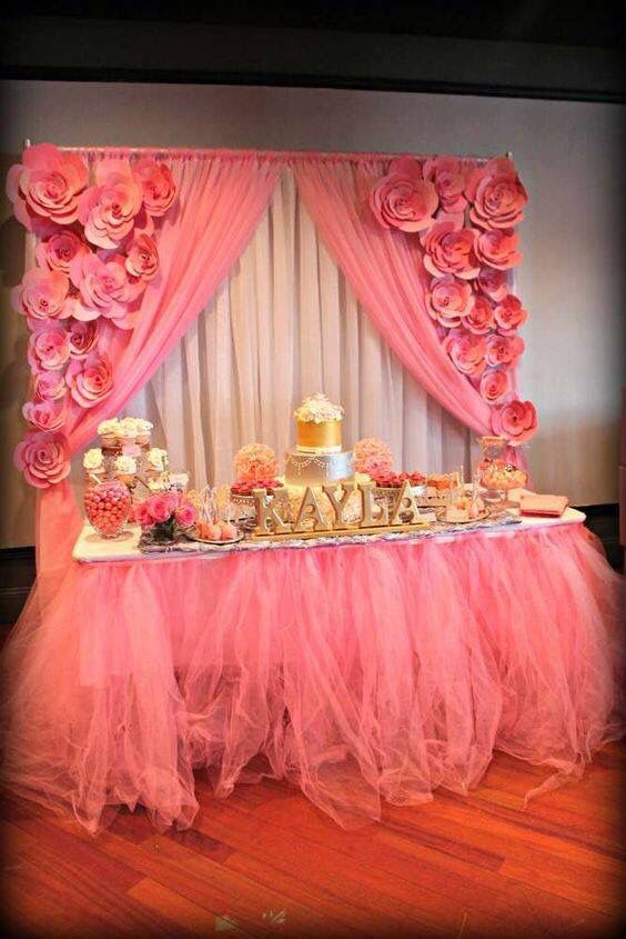 Baby Shower Dessert Table Pink And Coral And Gold Baby