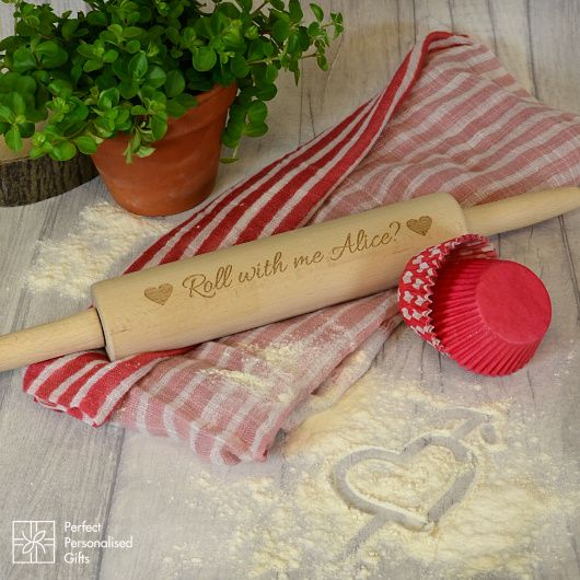 Roll With Me... Rolling Pin.  Fun and cheeky rolling pin with message just for Valentine's Day  Make Valentine's Day fun with this cheeky and unsusual Valentine's gift.