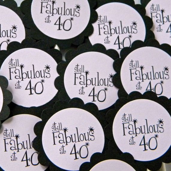 40th Birthday Party Printables | 40th Birthday Cupcake Toppers - Still Fabulous at 40, Pink and Black ...