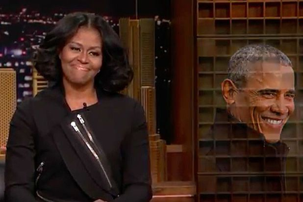 """I like this side of the desk,"" Obama said, as she moved around to sit next to the NBC late-night host.  Acting like a true professional, Obama asked for some ""'Thank You Note' piano music,"" from the smitten band.  Meanwhile, Fallon wrote his first note to Michelle, praising her arms."