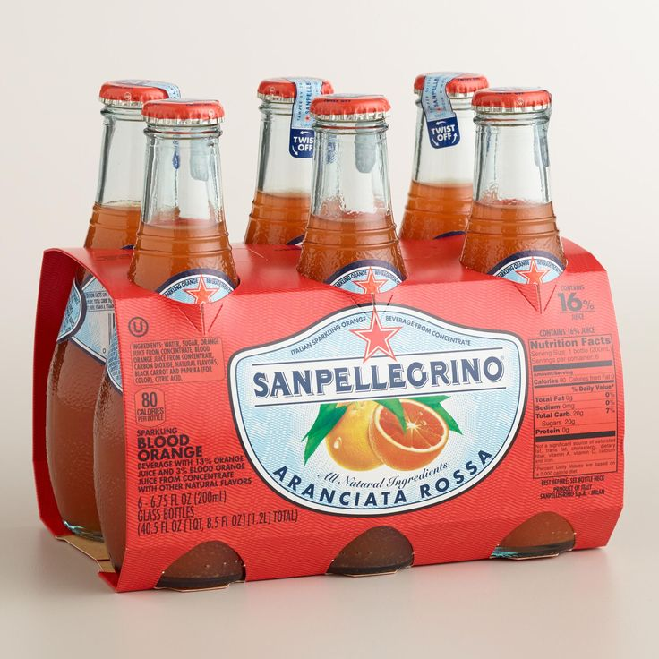 Made from Sicilian blonde and blood oranges, San Pellegrino Blood Orange Sparkling Beverage is as wonderfully refreshing as it is pleasing on the palate. With a distinct, tangy sweetness, this Italian-inspired drink contains less sugar than most soda and is a welcome alternative for your thirst-quenching moments.