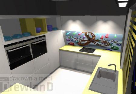 Meble kuchenne białe na wysoki połysk, z elementami żółtymi. http://superstolarz.pl/blog/oryginalna-biala-kuchnia-z-zoltym-blatem-i-ciekawa-grafika