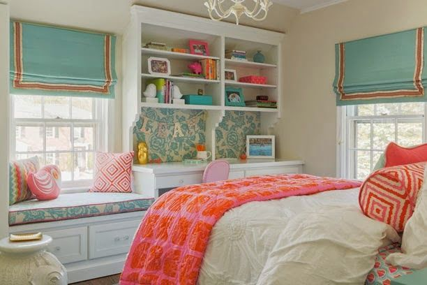 Loving the added pops of color in this white teen bedroom