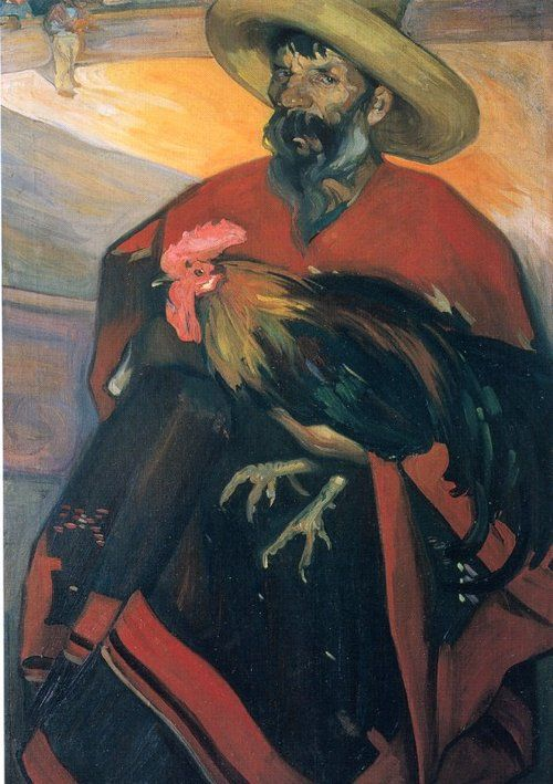 """El Gallero"" by Mexican painter Saturnino Herrán."