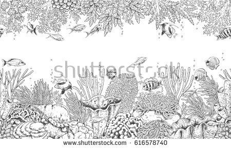 Hand drawn underwater natural elements. Seamless line horizontal pattern with reef corals, actinia, clams and swimming fishes. Monochrome sea bottom texture. Black and white illustration