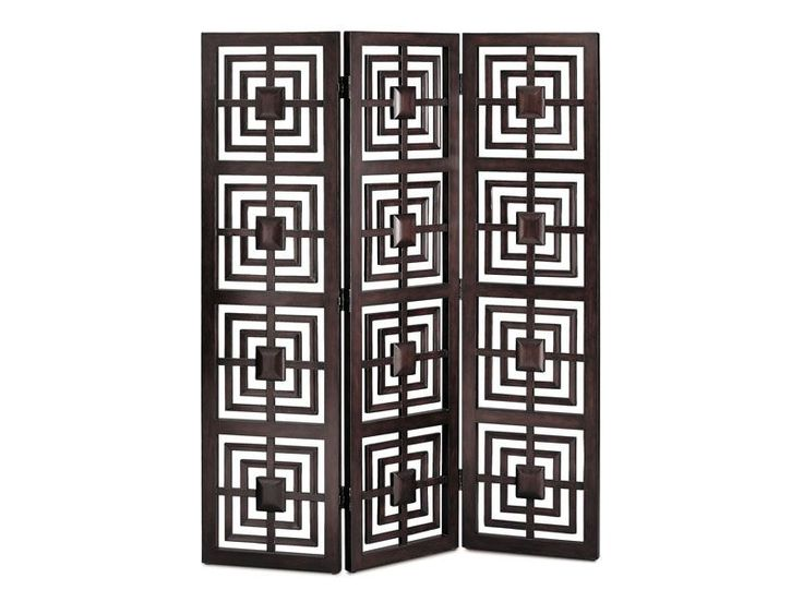 "The Geo screen brings artistic charm and functionality to your spaces. Create a dynamic room divider, a decorative ""wall"" or a romantic dressing corner with this espresso 3-panel screen."