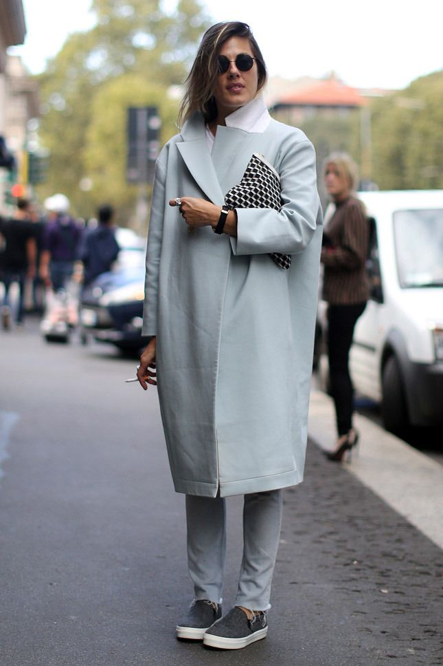 Natalie Hartley in lovely oversized coat. More of this color you can find here http://kishene.com/lilija-larionova/roll-neck-tunic-sweater-111