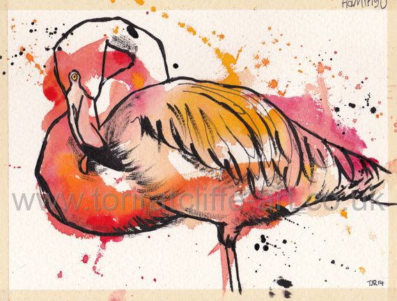 An expressive and colourful painting of a Flamingo!  To create my signature style I always apply the paint first and the black fineliner second which allows me to add detail and texture. For more of my work please feel free to visit my website or facebook page: www.toriratcliffe-art.co.uk / www.facebook.com/toriratcliffeart (bird, artwork, painting, expressive, watercolour, family art, print, wildlife)