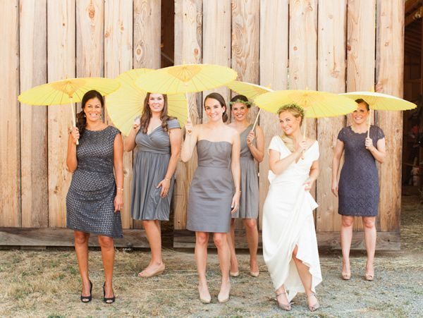 Love the bridesmaid dresses - not matched in style but in color -