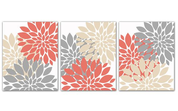 Coral Gray and Beige Tan Flower Burst Print Trio Wall Art Room Decor Set of 3 8x10 Prints 158(ab)