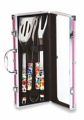 Vesta Barbecue Tool Set_Grill Accessories by Solutions With Style Made especially for women, our 3 Piece Vesta Barbecue Tool Set is ergonomically shaped for smaller hands.  The decorative floral pattern stainless steel 13 1/2″ tools include a spatula, fork and tong that store securely into the aluminum accented carrying case.  A perfect size for backyard barbecues, parks, beach and picnics.  Color: Pink/Floral