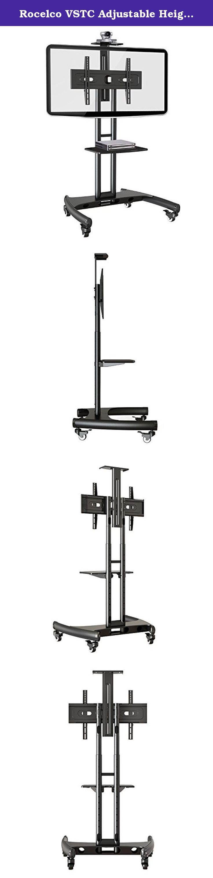 """Rocelco VSTC Adjustable Height Mobile TV Stand, for 32-70 inch Flat Screen TVs, with with AV and Webcam Shelf - Black. The VSTC is the perfect rolling TV Cart in offices, conference rooms, classrooms, kiosks, retail stores, hotels, training centers, etc. The STC comes standard with the accessories that other companies charge extra. Our heavy duty steel frame can easily support large screens up to 70"""" and 100 lbs. The flexible TV mounting interface can accommodate screens from 32"""" – 70""""…"""