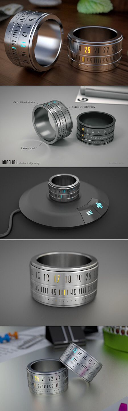 Ring Watch, battery recharges via induction. Nice!