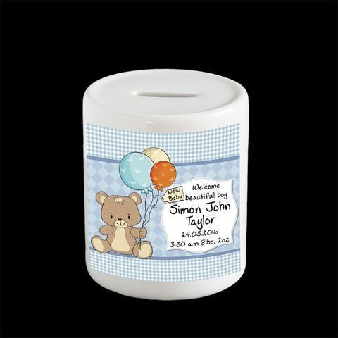 Personalised New Baby Boy's money box, piggy bank, christening gift