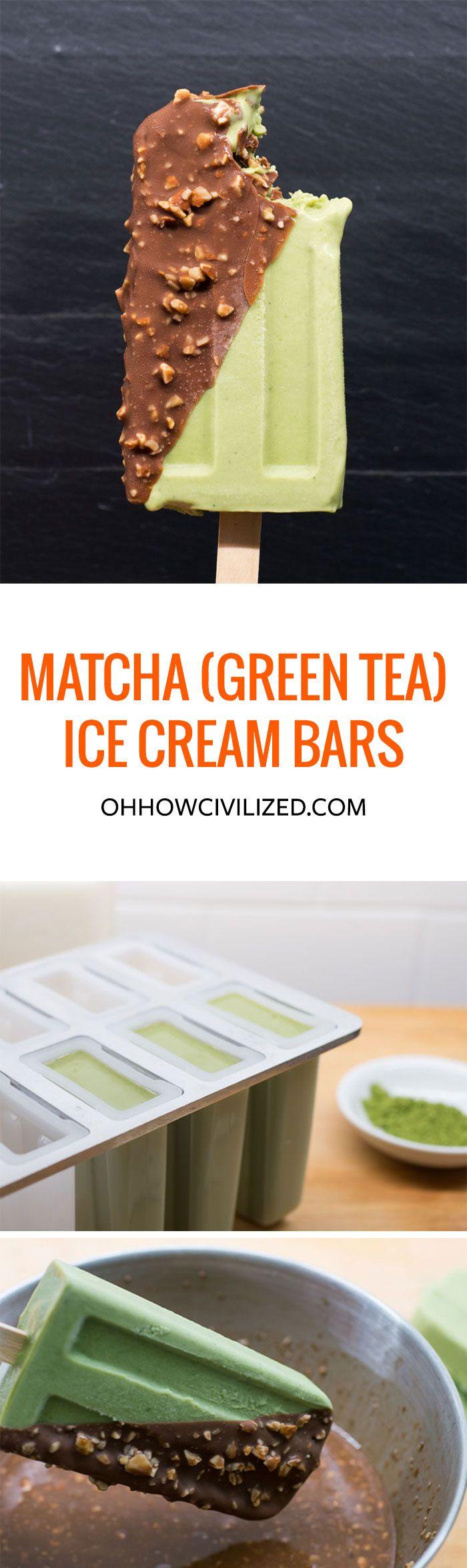 MATCHA (GREEN TEA) ICE CREAM BARS WITH MAGIC CHOCOLATE AND TOASTED ALMOND SHELL