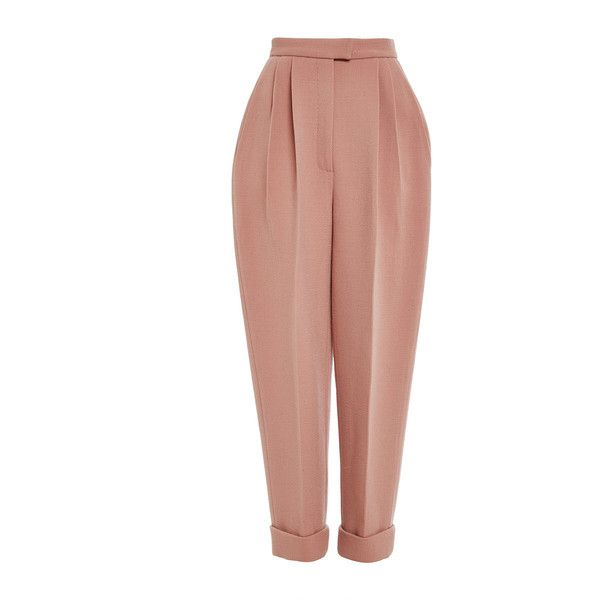 DELPOZO Double Faced Wool Crepe Trouser (€1.310) ❤ liked on Polyvore featuring pants, capris, beige pants, high waisted pants, pleated pants, high waisted trousers i wool trousers