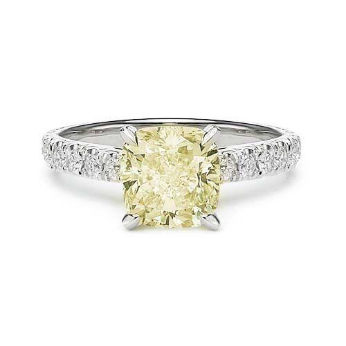 2.46 LIGHT FANCY YELLOW DIAMOND ENGAGEMENT RING http://www.larryfinejewelry.com/