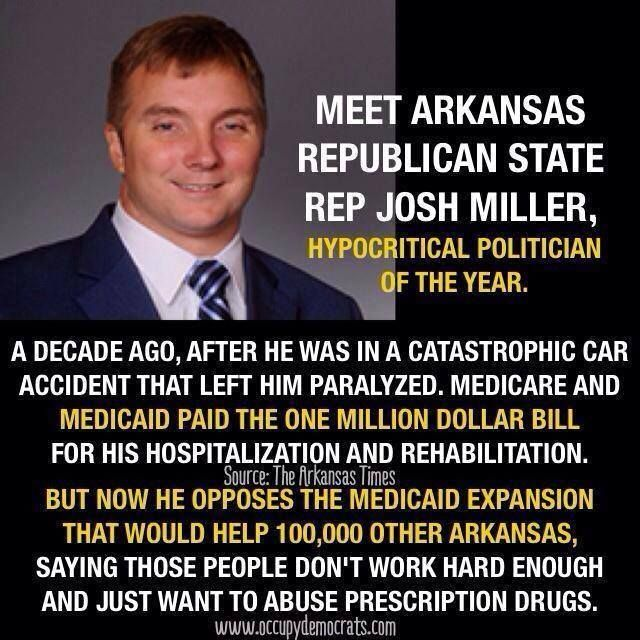 MEET ARKANSAS REPUBLICAN STATE REPRESENTATIVE JOSH MILLER . . . .seems the government picking up the bill for his extraordinarily expensive medical care was okay; but, yet he is attempting to rationalize (quite lamely) why other citizens in Arkansas shouldn't be allowed similar care through the Affordable Care Act. ~ (Miller is most definitely a Southern Hypocrite.)