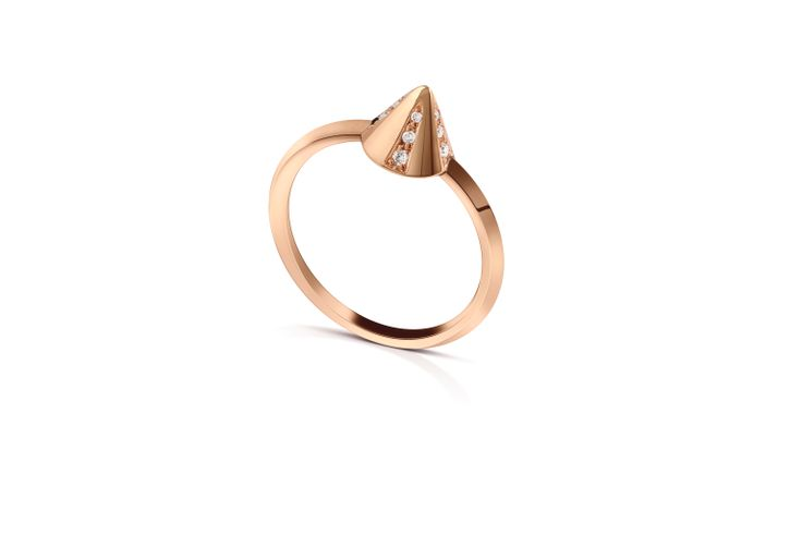 Spike Ring in 18K Rose Gold with Diamonds.