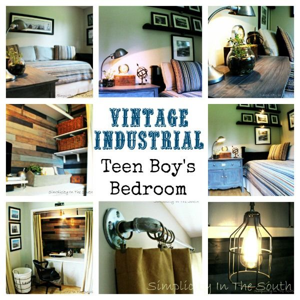 Vintage Industrial Teen Boy's Bedroom and Closet/Office Reveal - Simplicity in the South
