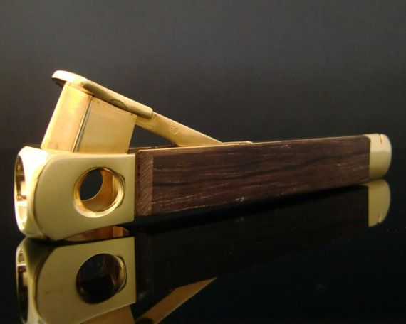Wolfertz CTS SOLINGEN Cigar Cutter with Gold Plated Details and Wood Decor // Midcentury German Smokers Articles