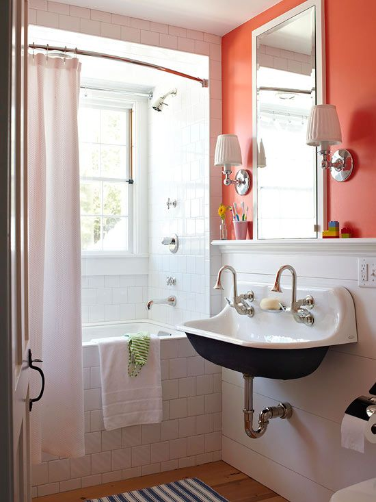 Forgo a bathroom vanity for a wall-mounted sink. More home projects: http://www.bhg.com/home-improvement/remodeling/budget-remodels/weekend-projects-under-20-dollars/#page=6