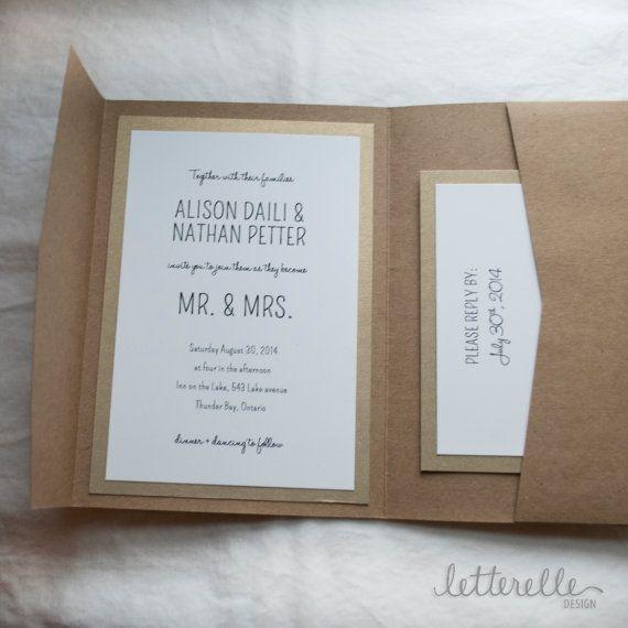 Etsy の ゴールド クラフト簡単な結婚式招待状5 7 ポケット付き by letterelle