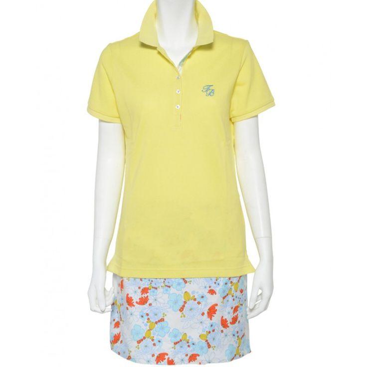 レディース ポロ イエロー×ブルー/ホワイトフラワー POLO Yellow×Blue/White flower