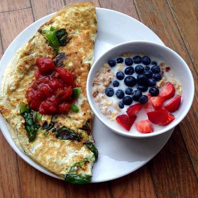 Egg white and 1 yolk Omlette with veggies . And salsa! Also granola with almond milk& berries ! Goodmorning fitfam !
