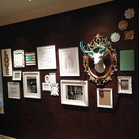 Our client @justaddglitterbymarla has incorporated The Oleg, our WFT white deer head with turquoise antlers into this gallery wall perfectly! He really stands out and makes a great conversation piece!