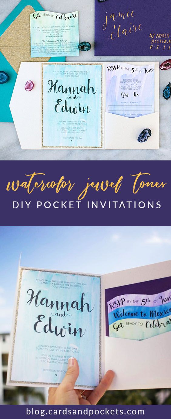are labels on wedding invitations tacky%0A Hannah created DIY watercolor wedding invitations for her destination  wedding in Mexico with rich jewel tones