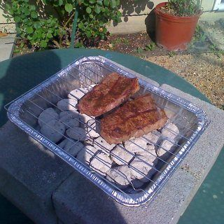 Great idea for camping.  Make a charcoal grill for next to nothing.  Takes up little space and you can toss it when you're done.