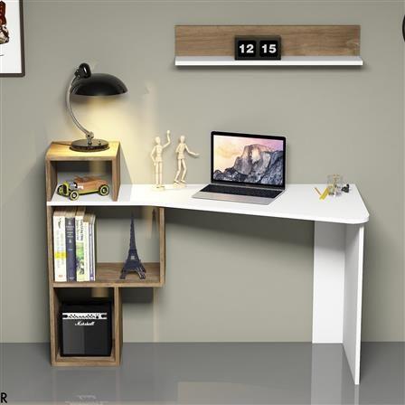 ashley desk white natural rajubhai desk modern desk bookshelf rh pinterest com