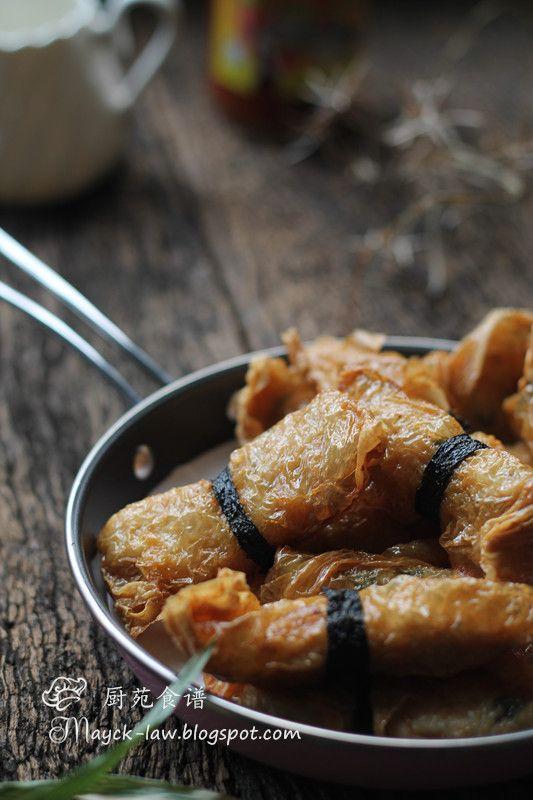DEEP-FRIED PRAWN & FISH BEAN CURD ROLL [China] [mayck-law] [seafood paste, fishcake paste, fish paste, seafood cake, crab cake, fishcake, shrimp cake]