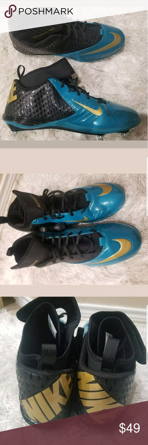 NIKE LUNAR SUPERBAD PRO TD FOOTBALL CLEATS Shoes NIKE LUNAR SUPERBAD PRO TD FOOTBALL CLEATS BLACK TEAL JAGUARS   Size 14.5   Represent the Jaguars with these great cleats that can be used for football, baseball and basketball.   Brand new without box.   Thanks for looking!  Nike Shoes Athletic Shoes