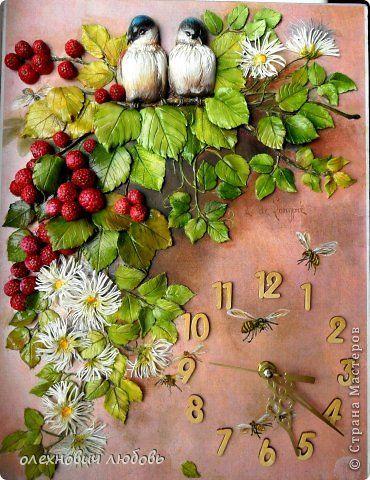 Поделка изделие Лепка Настенные часы Пластика Тесто соленое фото 1