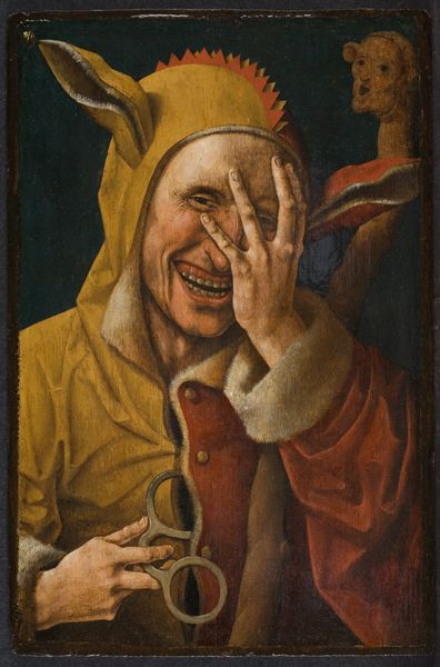 Author is unknown. Identified as Flemish, Fool, mid 16th, Wellesley College. Oil on wood. FOOL's CAP!: