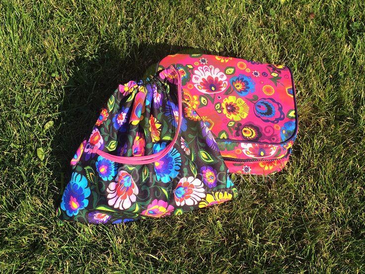 Folkowa śniadaniówka i worek na kapcie / Folk patterned lunchbox and school sack