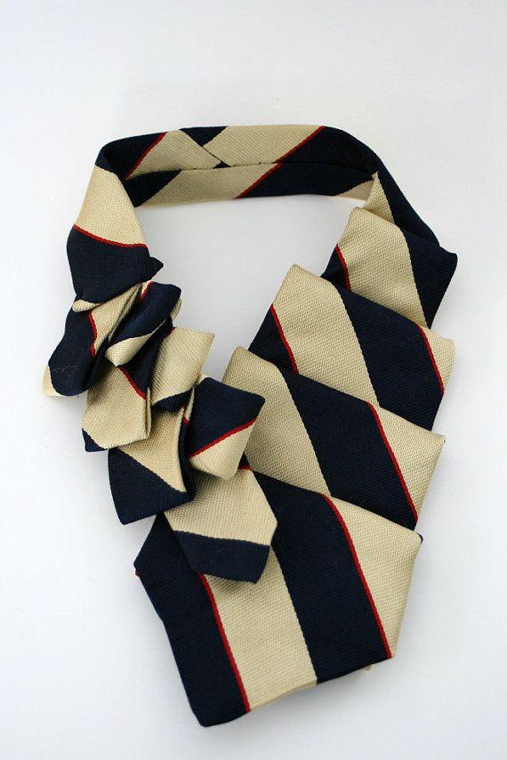 Womens Silk Tie Repurposed Collar Ascot by OgsploshAccessories