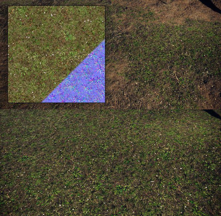 Floor tileable grass/duff material, Hugo Beyer on ArtStation at https://www.artstation.com/artwork/B3qZz