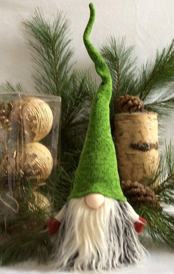 Rojo de sombrero verde de decoración sueca Tomte Gnome SANTA