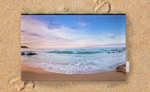 Moonscape, Bunker Bay Carry-All Pouch design by Dave Catley featuring sunset…