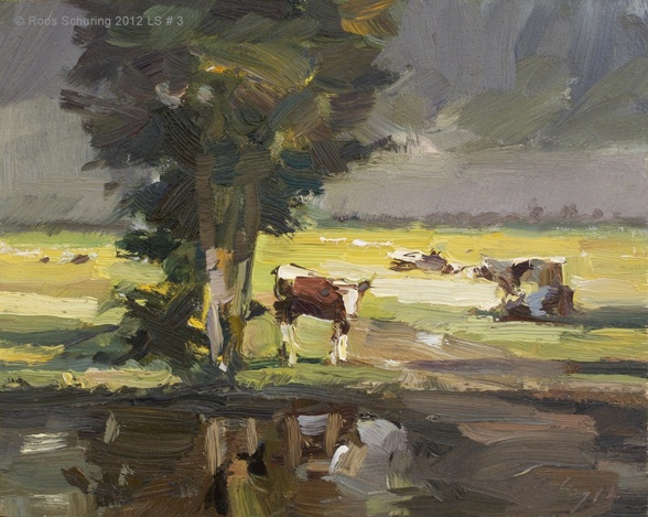 Roos Schuring New paintings- Seascapes and landscapes plein air: Landscape summer #3 Cows in yellow light and tree-Koeien