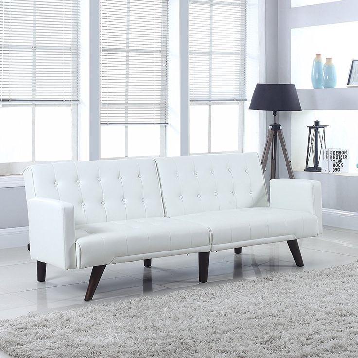 Modern Convertible Tufted Bonded Leather Splitback Sleeper Sofa Futon White